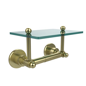Astor Place Collection Two Post Toilet Tissue Holder with Glass Shelf, Satin Brass