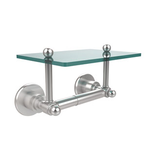 Astor Place Collection Two Post Toilet Tissue Holder with Glass Shelf, Satin Chrome