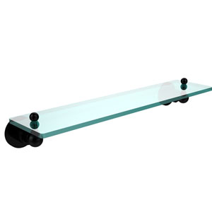 Astor Place Matte Black 22 Inch x 5 Inch Single Glass Shelf