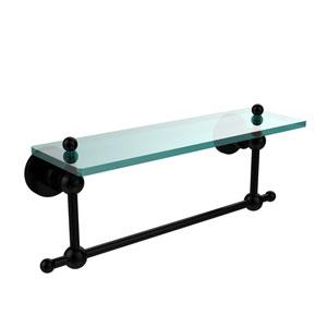 Astor Place Matte Black 16x5 Glass Shelf w/ Towel Bar