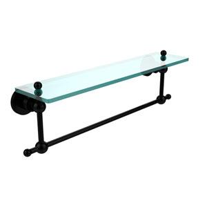 Astor Place Matte Black 22x5 Glass Shelf w/ Towel Bar