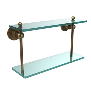 Astor Place Brushed Bronze 16 Inch x 5 Inch Double Glass Shelf