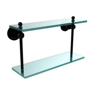 Astor Place Matte Black 16 Inch x 5 Inch Double Glass Shelf