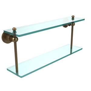 Astor Place Brushed Bronze 22 Inch x 5 Inch Double Glass Shelf