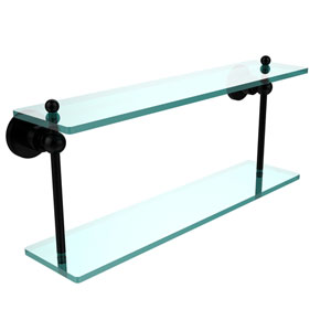 Astor Place Matte Black 22 Inch x 5 Inch Double Glass Shelf