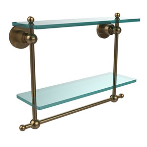 Astor Place Brushed Bronze 16 Inch Double Glass Shelf with Towel Bar