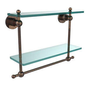 Astor Place Venetian Bronze 16 Inch Double Glass Shelf with Towel Bar