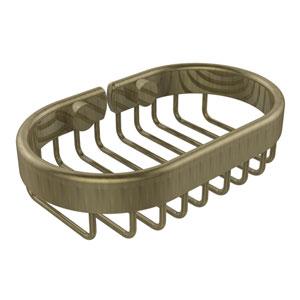 Oval Soap Basket, Antique Brass