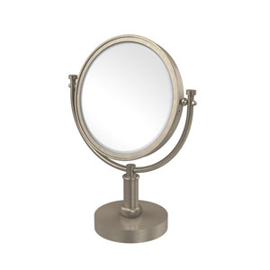 8 Inch Vanity Top Make-Up Mirror 5X Magnification, Antique Pewter