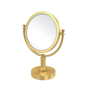 8 Inch Vanity Top Make-Up Mirror 5X Magnification, Unlacquered Brass