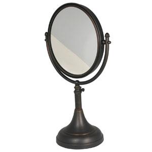 Satin Nickel 8 Inch Table Mirror 4x Magnification