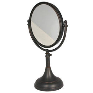 Satin Nickel 8 Inch Table Mirror 5x Magnification