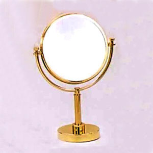 Polished Brass 8 Inch Table Mirror 15 Inch 5x Magnification