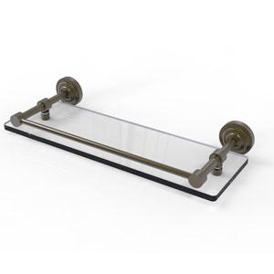Dottingham 16 Inch Glass Shelf with Gallery Rail, Antique Brass