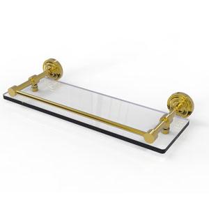 Dottingham 16 Inch Glass Shelf with Gallery Rail, Polished Brass