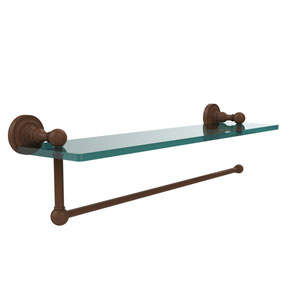 Dottingham Collection Paper Towel Holder with 16 Inch Glass Shelf, Antique Bronze