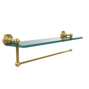 Dottingham Collection Paper Towel Holder with 16 Inch Glass Shelf, Polished Brass