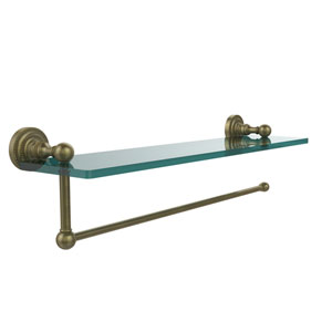 Dottingham Collection Paper Towel Holder with 22 Inch Glass Shelf, Antique Brass