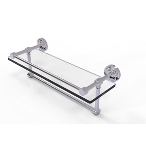 Dottingham 16 Inch Gallery Glass Shelf with Towel Bar, Polished Chrome