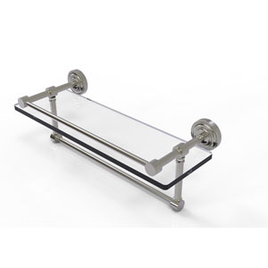 Dottingham 16 Inch Gallery Glass Shelf with Towel Bar, Satin Nickel