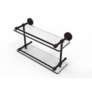 Dottingham 16 Inch Double Glass Shelf with Gallery Rail, Oil Rubbed Bronze