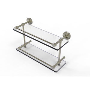 Dottingham 16 Inch Double Glass Shelf with Gallery Rail, Polished Nickel