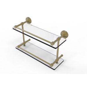 Dottingham 16 Inch Double Glass Shelf with Gallery Rail, Satin Brass