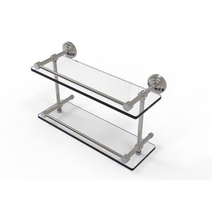 Dottingham 16 Inch Double Glass Shelf with Gallery Rail, Satin Nickel