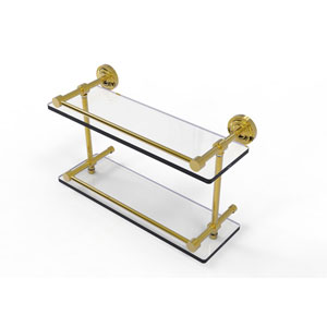 Dottingham 16 Inch Double Glass Shelf with Gallery Rail, Unlacquered Brass