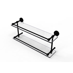 Dottingham 22 Inch Double Glass Shelf with Gallery Rail, Matte Black