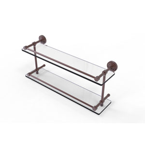 Dottingham 22 Inch Double Glass Shelf with Gallery Rail, Antique Copper