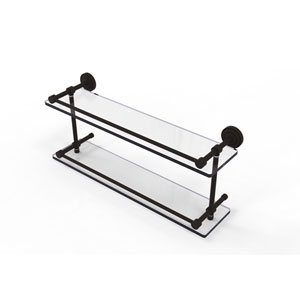 Dottingham 22 Inch Double Glass Shelf with Gallery Rail, Oil Rubbed Bronze