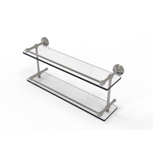 Dottingham 22 Inch Double Glass Shelf with Gallery Rail, Satin Nickel
