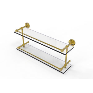 Dottingham 22 Inch Double Glass Shelf with Gallery Rail, Unlacquered Brass