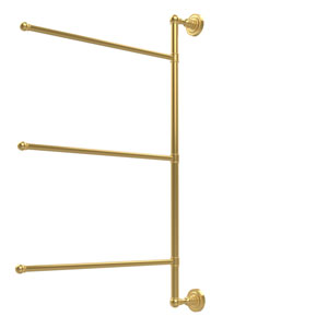 Dottingham Collection 3 Swing Arm Vertical 28 Inch Towel Bar, Unlacquered Brass