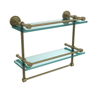 Dottingham 16 Inch Gallery Double Glass Shelf with Towel Bar, Antique Brass