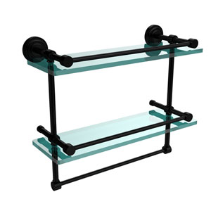 Dottingham 16 Inch Gallery Double Glass Shelf with Towel Bar, Matte Black