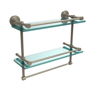 Dottingham 16 Inch Gallery Double Glass Shelf with Towel Bar, Antique Pewter