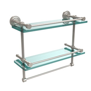 Dottingham 16 Inch Gallery Double Glass Shelf with Towel Bar, Satin Nickel