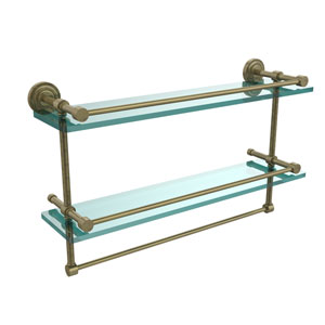 Dottingham 22 Inch Gallery Double Glass Shelf with Towel Bar, Antique Brass