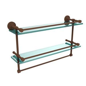 Dottingham 22 Inch Gallery Double Glass Shelf with Towel Bar, Antique Bronze