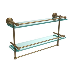 Dottingham 22 Inch Gallery Double Glass Shelf with Towel Bar, Brushed Bronze