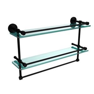 Dottingham 22 Inch Gallery Double Glass Shelf with Towel Bar, Matte Black