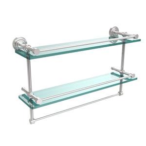 Dottingham 22 Inch Gallery Double Glass Shelf with Towel Bar, Polished Chrome