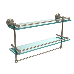 Dottingham 22 Inch Gallery Double Glass Shelf with Towel Bar, Antique Pewter