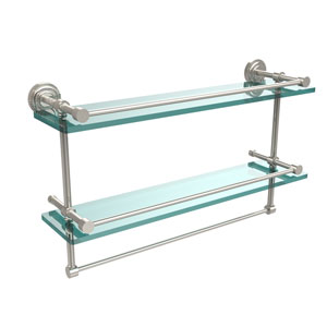 Dottingham 22 Inch Gallery Double Glass Shelf with Towel Bar, Polished Nickel