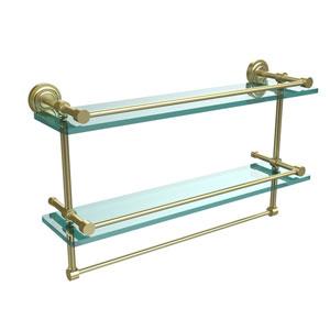 Dottingham 22 Inch Gallery Double Glass Shelf with Towel Bar, Satin Brass