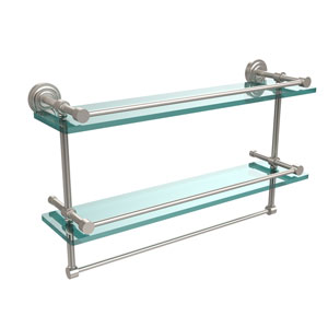 Dottingham 22 Inch Gallery Double Glass Shelf with Towel Bar, Satin Nickel