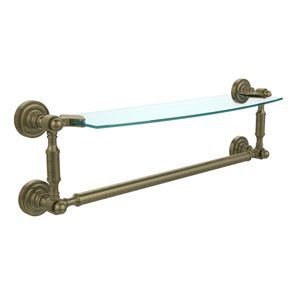Dottingham Antique Brass Single Shelf with Towel Bar
