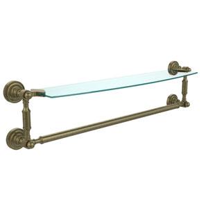 Dottingham Antique Brass Single Shelf with Towel Bar